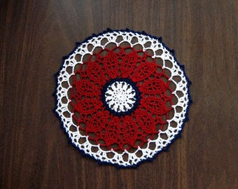 Americana Decor Crochet Lace Doily, Red, White, Blue, Patriotic Table Topper, USA Flag Colors