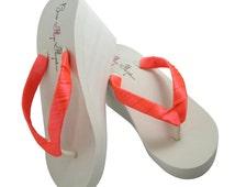 Bright Coral Wedge Flip Flops- Wedding Bride Bridesmaid Flip Flops -Ivory Sandals - White Platform, Plain Satin wrapped straps.