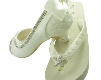 "Wedding High Heels & Wedge Flip Flops Set - Starfish Beach Bling-Ivory Bridal Shoes-3.5"" or 2"" inch Peep Toe-Bow Rhinestone Pumps Bride Gift"