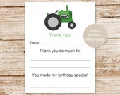 printable | green tractor thank you cards fill in the blank | birthday thank you | farm thank you | INSTANT DOWNLOAD