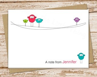bird note cards . notecards . folded personalized stationery stationary . cute whimsical cards . set of 8