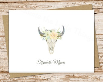 PRINTABLE personalized skull note cards . floral desert skull notecards . watercolor bull skull stationery . folded stationary . You Print