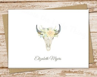 personalized skull note cards . floral desert skull notecards . watercolor bull skull stationery . folded stationary . set of 8