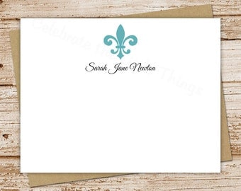 PRINTABLE personalized fleur de lis note cards, notecards . FLAT stationery, stationary . You Print