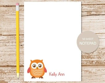 personalized owl notepad . owl note pad . personalized stationery . owls stationary . whimsical bird owls
