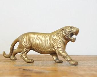 Vintage Brass Tiger Figurine