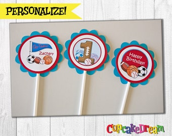 Sports Birthday, Cupcake Toppers, All Star Birthday Party, Set of 12