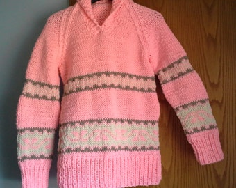 Hand Knitted Womans Shawl Collar Cowichan Chinook Canadian Pullover Sweater