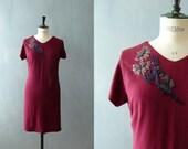 Vintage 1940s dress. Rayon dress. 40s bias cut dress with beaded flower detail