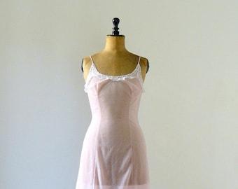 40% OFF SALE // Vintage slip dress. 1960s pink sheer slip dress. lace negligee. lingerie