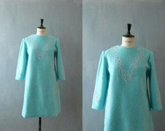 Vintage 1960s nightie. 60s winter night dress. deadstock fleece nightie