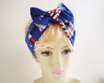 Nautical Head Scarf, Lighthouse Head Scarf, Sailboat Head Scarf, Red White Blue Head Scarf, Red White Blue Stripe Head Sarf