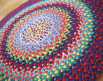 Reserved Listing for Zenbunni New Ready To Ship Hand Braided Recycled Round Colorful Rainbow Area Rug / Rag for Playroom