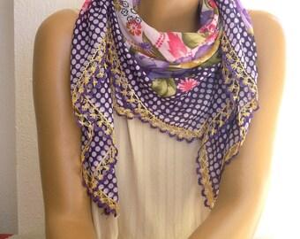 Purple scarf, rose and polka dot print, crochet trim