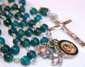 Green Jasper and Silver Rosary