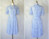 1950s cornflower blue floral sheer dress / sky blue sky shirtwaist / small