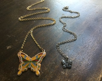 Two Vintage butterfly pendant necklaces -  Enamled Butterfly  - EPSTEAM - Butterfly Collection - Pewter butterfly -'Butterfly jewerly
