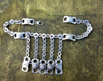 Statement Necklace, Contemporary Jewellery, Stainless steel chain, Recycled Aluminium Ring Pulls, Original Unique Design