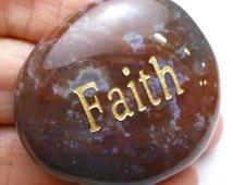Faith Worry Stone Palm Pocket Thumb Healing Metaphysical Meditation Crystal Natural Rock Success Balance Word