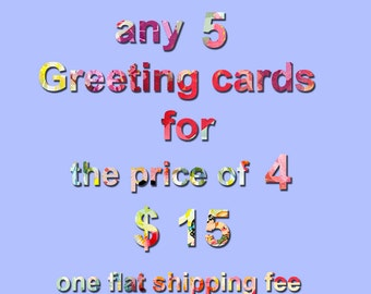 5 greeting cards set