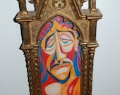 Original French Cubism Icon of Jesus Christ, 20th century, in a mid/late 19th century Italian Renaissance Gothic Gold Leaf Cathedral Frame