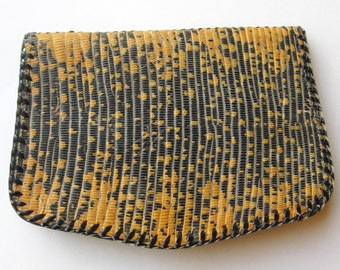 Vintage 30s Exotic Black & Yellow Lizard Art Deco Clutch Purse