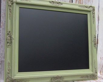 "COUNTRY OUTDOOR WEDDING Sage Green Wedding Chalkboard Cottage French Country Decor 31""x27"" Distressed Wood Magnetic Chalk board Blackboard"