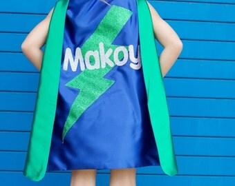 FAST SHIP KIDS Personalized Sparkle Superhero Cape with full name - High quality sparkle design - kids halloween custume - superhero party