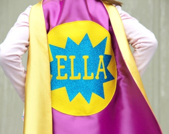 Free mask sale - Personalized SPARKLE Full Name SUPERHERO Cape - Includes full name in burst design or star - Hero Party - Fast Delivery
