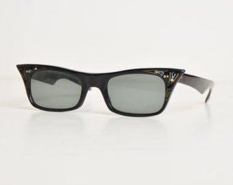 Vintage 50s Pointy Cateye Sunglasses Frames / 1950s Black Rhinestone Eyeglasses