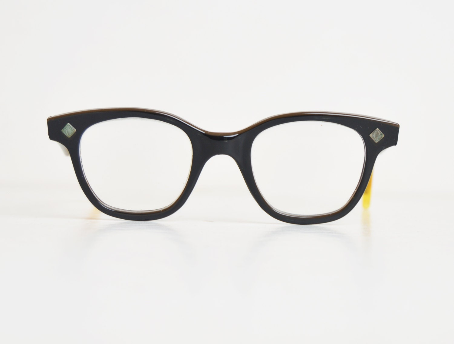 vintage 50s black eyeglass frames 1950s inlay