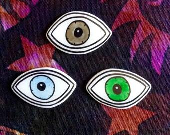 eye brooch, witchy pin, eye color, pin, blue eyes, green eyes, brown eyes, illuminati