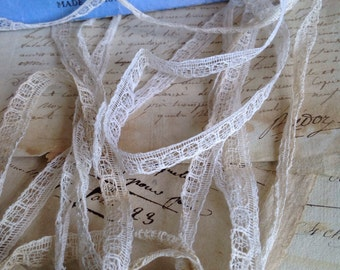 Antique Lace Trim /Vintage Off White Lace 10yd /Ballet Dolls Home Furnishings Vintage Sewing NOS