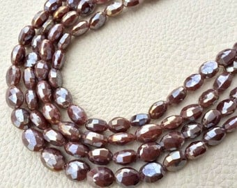 Brand New, Full 8 Inch Strand,Superb-Finest Quality Chocolate MOONSTONE Faceted Oval Shape Briolettes, 8-8.5mm size,Great Item