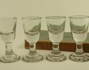 Four Vintage French HAND BLOWN BISTRO shot Glasses