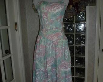 Vintage 70s Does 50s Pastel Flower Dress Boned Drop Waist Cross Halter Garden Party Tea Length S Small