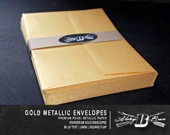 25 Gold Metallic A7 Envelopes | Invitation Envelope | 5 1/4 x 7 1/4 fits 5 x 7 Invitation | Gold A7 | STARDREAM Gold Envelope