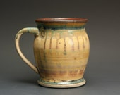 Reserved for Anne - Handmade pottery coffee mug or ceramic teacup 14 oz, amber rust 3014