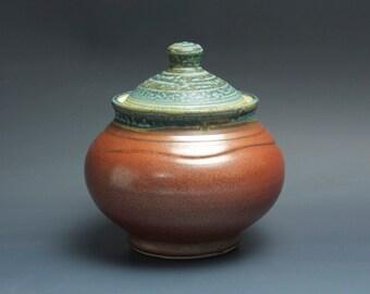 Handmade pottery sugar bowl storage jar tea caddy iron red 3480