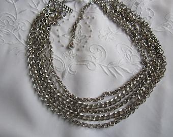 Vintage Silver Tone Five-Strand Chain Necklace