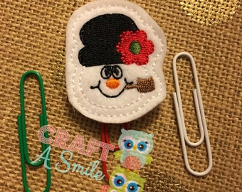 Planner Clip/Accessories - Snowman Face Bookmark For Personal Planners, Calendars, Reading Books, etc