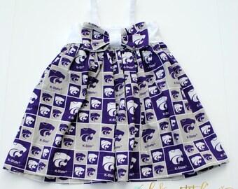 Team Kaity Dress, 4T, toddler dress, Kstate, Kansas State, Wildcats, ready to ship