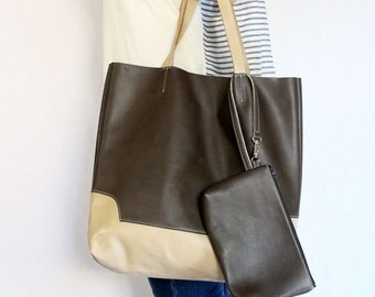Leather Tote Bag / Handbag / with Samll Pouch - Tow Tone Color