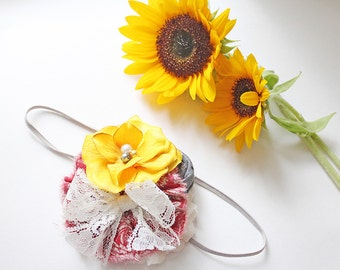 Penelope- mustard, crimson, ivory and grey, rolled rosette and ruffle headband with lace