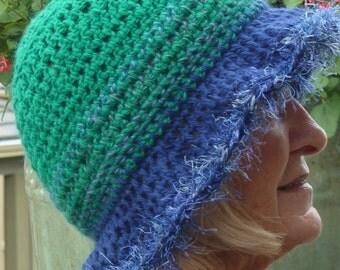 women's crochet hat blue green brimmed winter hat women's fashion