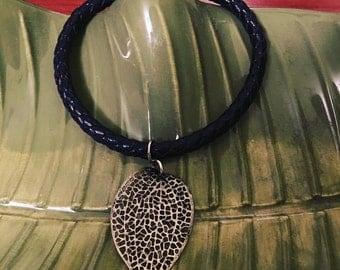 Leaf and Leather Bracelet