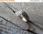 ON SALE Adjustable Feather ring in sterling silver