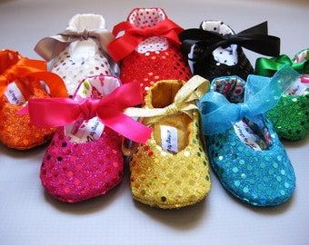 Sequin baby shoes, girls sequin shoes, baby bling, sparkle shoes, baby dress shoes- Joy