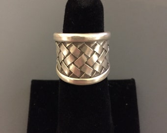 Woven Sterling Silver Statement Ring