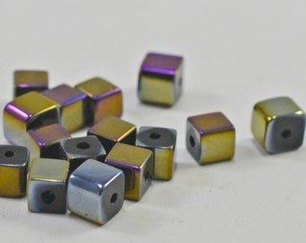 Multicolor glass cubes, metallic, 5mm - #1391